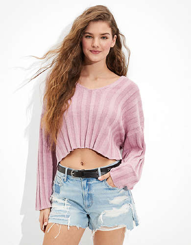 AE Cropped V-Neck Sweater