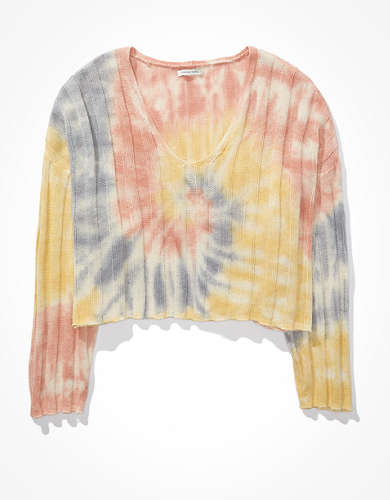 AE Tie-Dye V-Neck Sweater