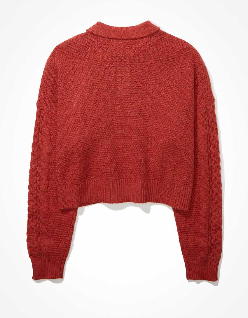 AE Cable Knit Polo Sweater