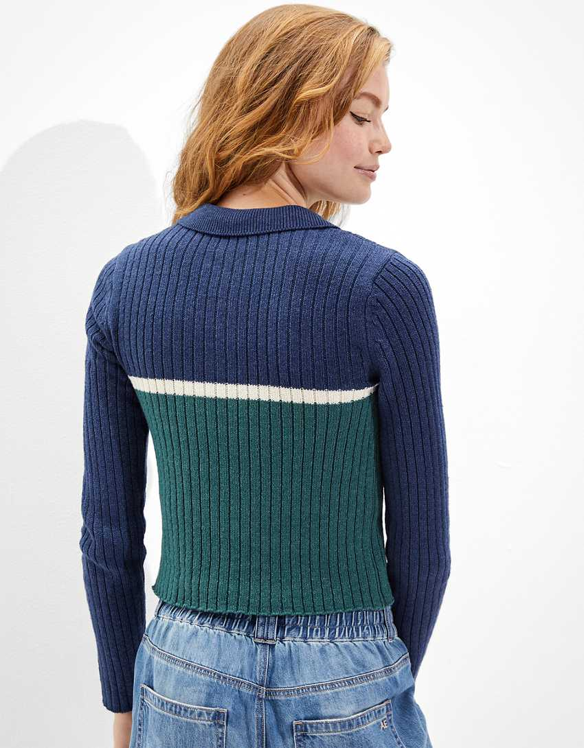 AE Cropped Polo Sweater