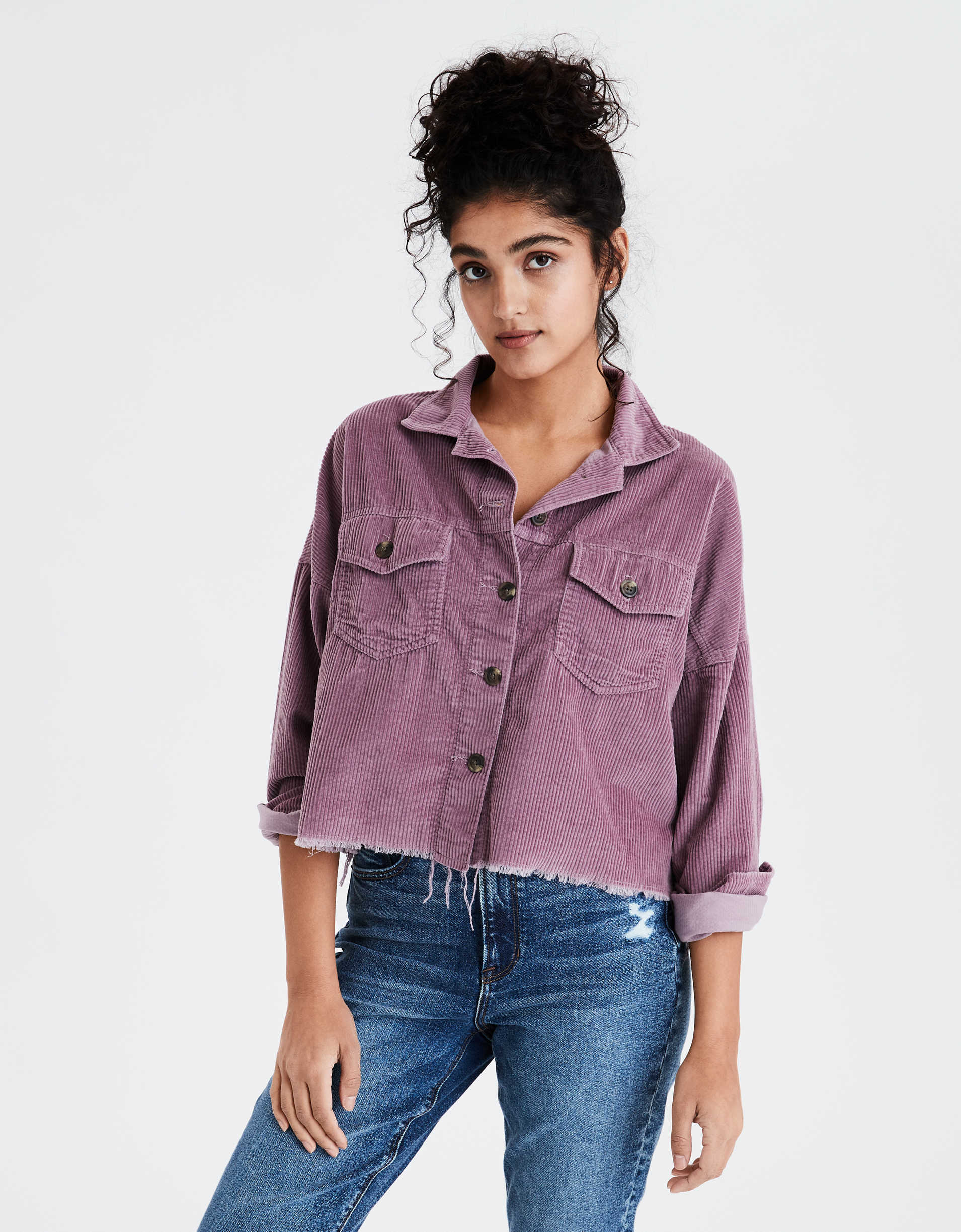 AE Corduroy Cropped Button Up Shirt