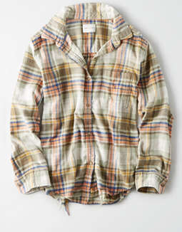 AE Plaid Oversized Button Down Shirt