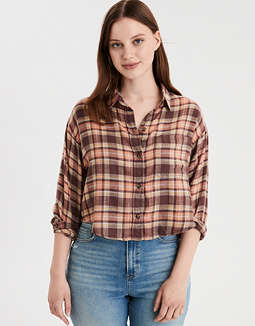 AE Cropped Button Down Shirt