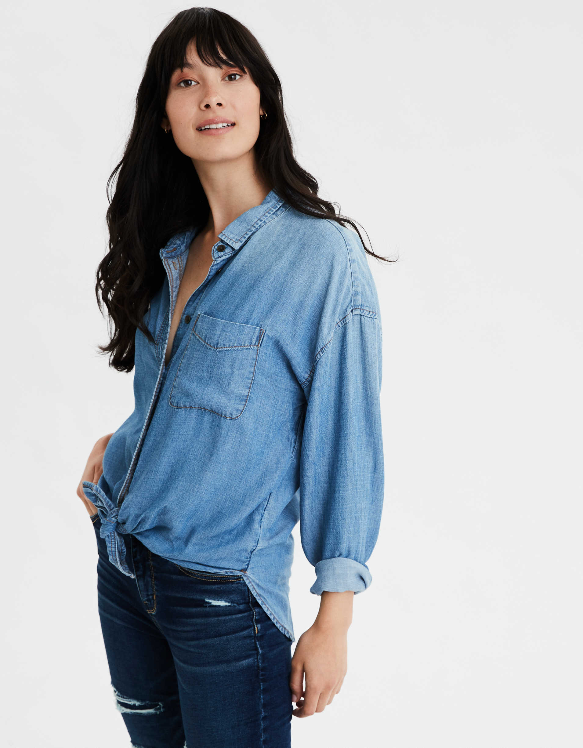 AE Oversized Denim Button Up Shirt