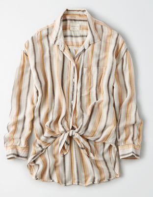AE Oversized Striped Button-Up Shirt