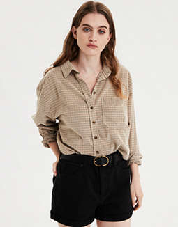 AE Plaid Corduroy Button Up Shirt
