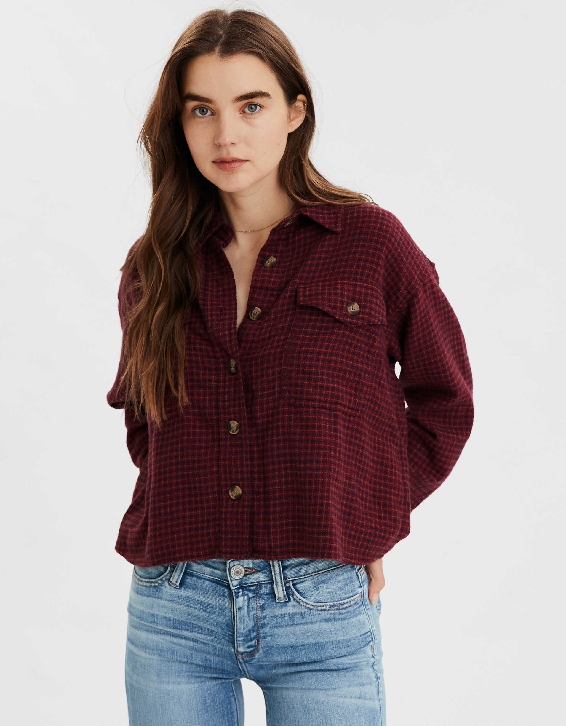 AE Plaid Cropped Button Up Shirt