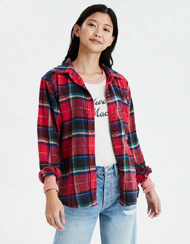 AE Ahh-Mazingly Soft Boyfriend Plaid Shirt