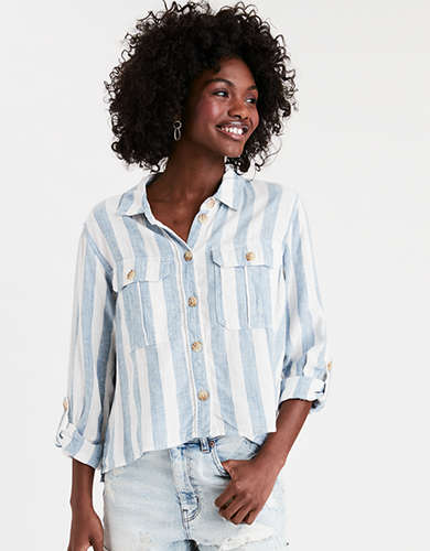 AE Striped Cropped Button Up Shirt
