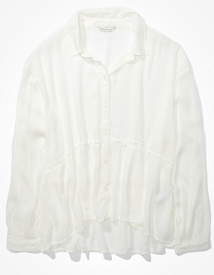 AE Ruffled Button-Up Shirt