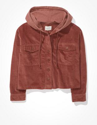 AE Cropped Corduroy Hooded Shirt Jacket