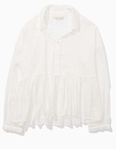 AE Cropped Button-Up Babydoll Shirt