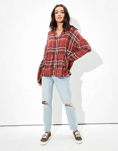 AE Plaid Flannel Babydoll Button Up Shirt