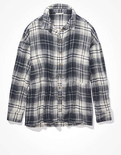 AE Plaid Babydoll Button Up Shirt