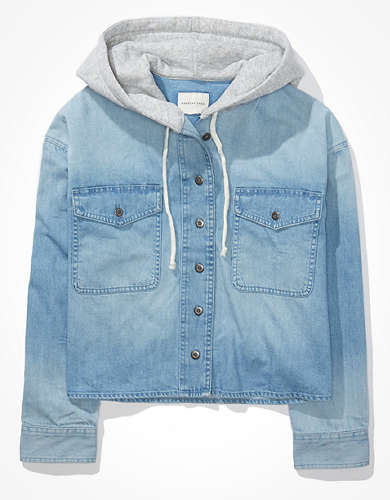 AE Cropped Denim Hooded Shirt Jacket