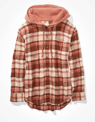 AE Plaid Flannel Hooded Button Up Shirt