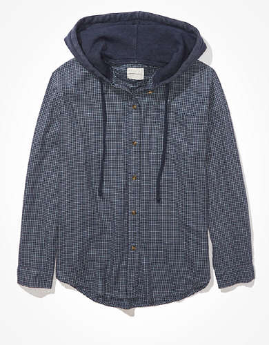 AE Oversized Plaid Hooded Button-Up Shirt