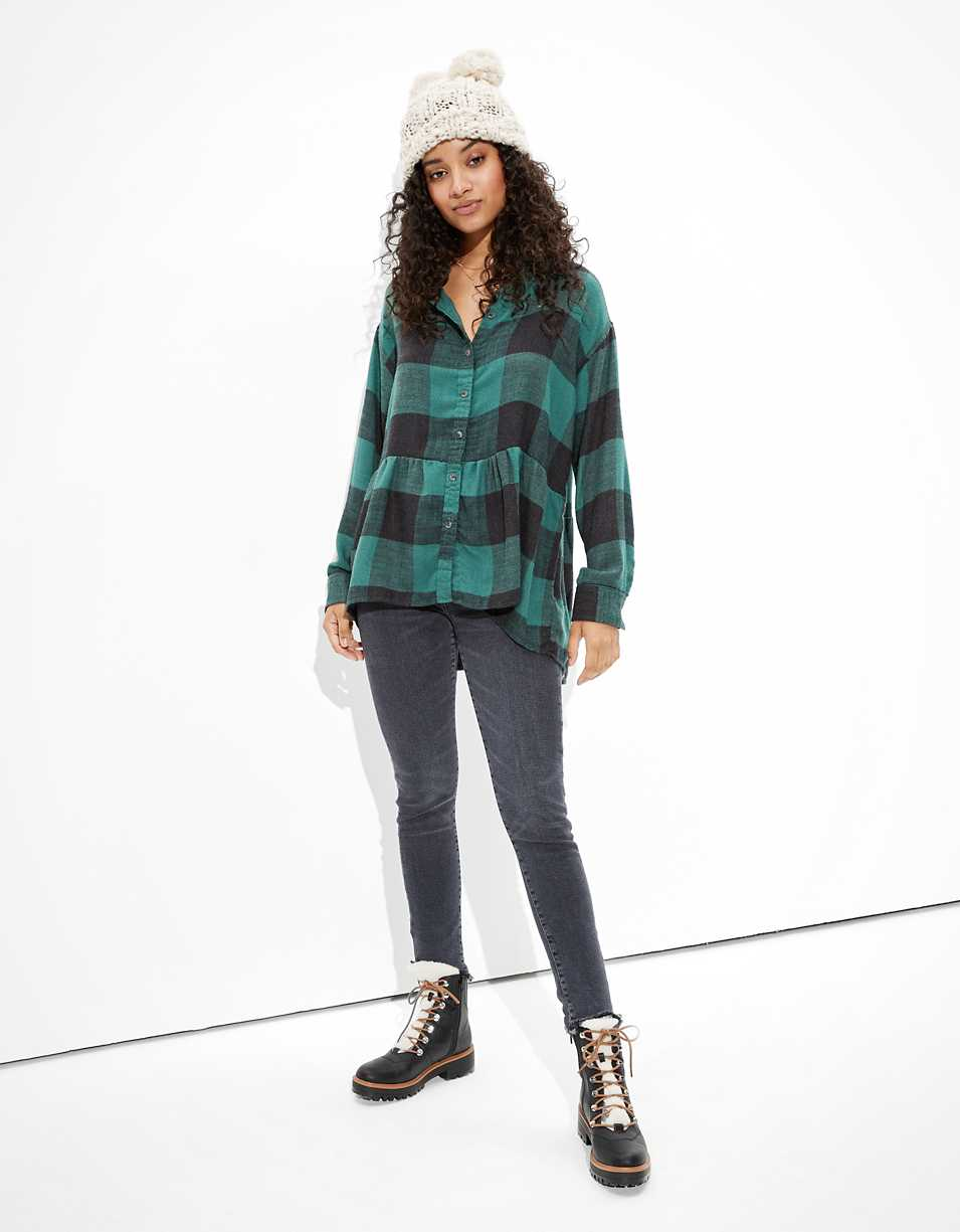 AE Oversized Flannel Babydoll Shirt