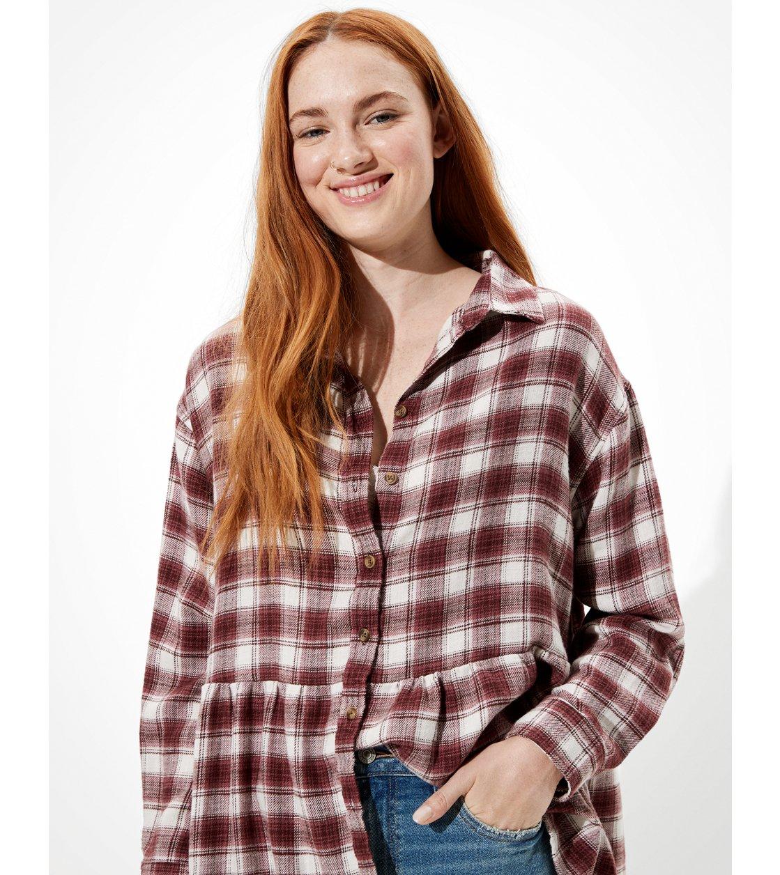 American Eagle AE Oversized Flannel Babydoll Shirt