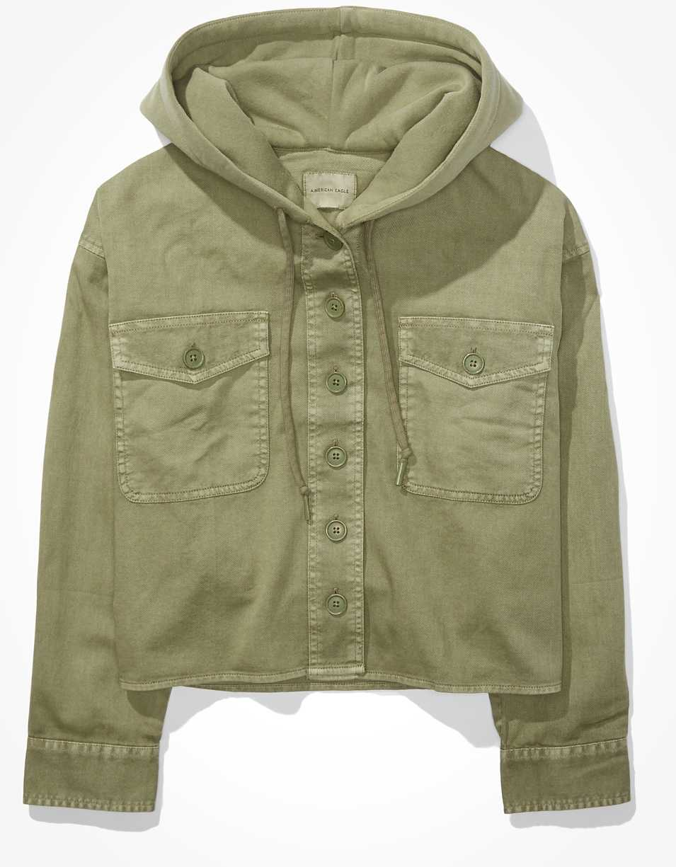 AE Cropped Military Hooded Shirt Jacket