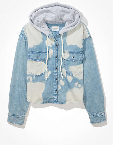AE Cropped Denim Hooded Shirt