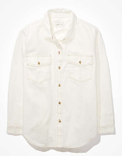 AE Oversized Denim Button-Up Shirt
