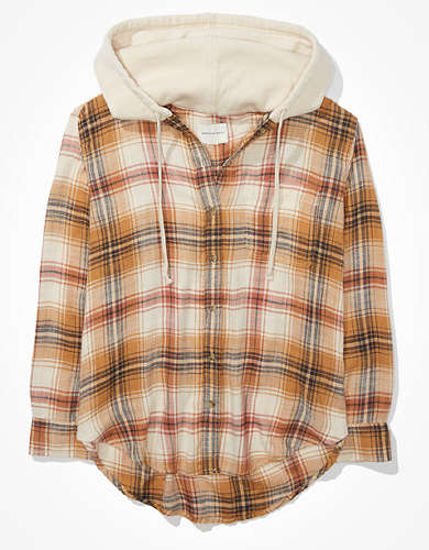 AE Oversized Plaid Hooded Flannel Shirt