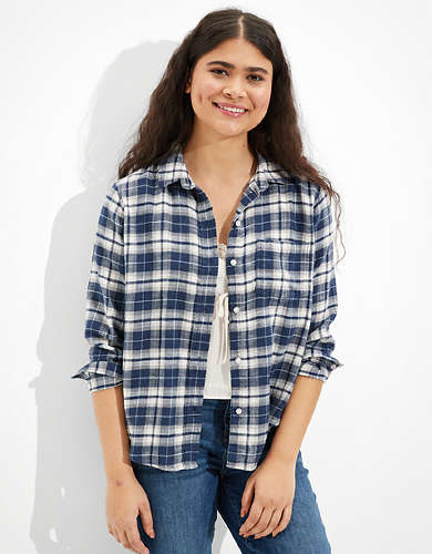 AE Oversized Plaid Flannel Shirt