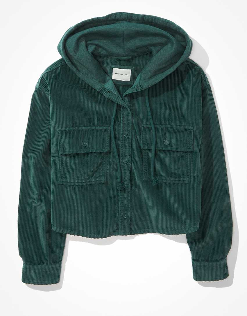 AE Hooded Cropped Corduroy Button-Up Shirt