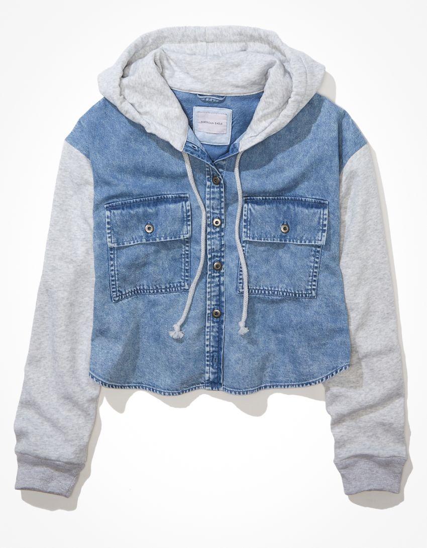 AE Cropped Hooded Denim Fleece Shirt