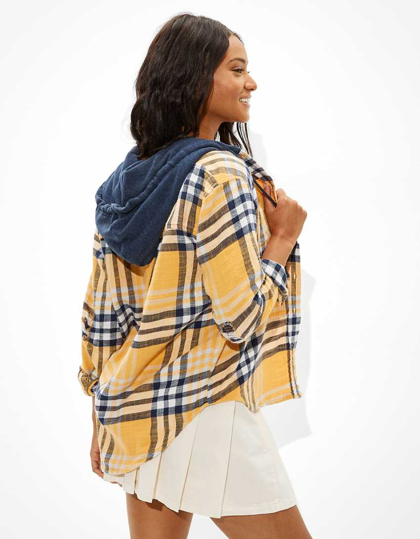 AE Oversized Hooded Flannel Shirt