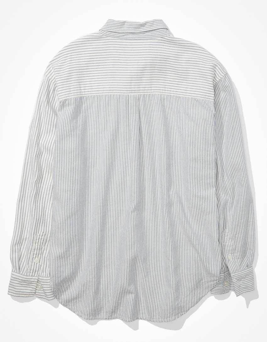 AE Striped Oversized Oxford Button-Up Shirt