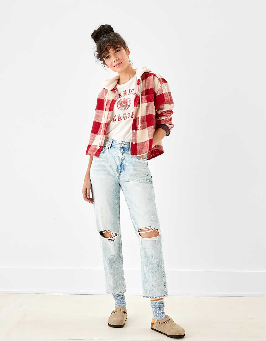 AE Cozy Cabin Cropped Hoodie Flannel