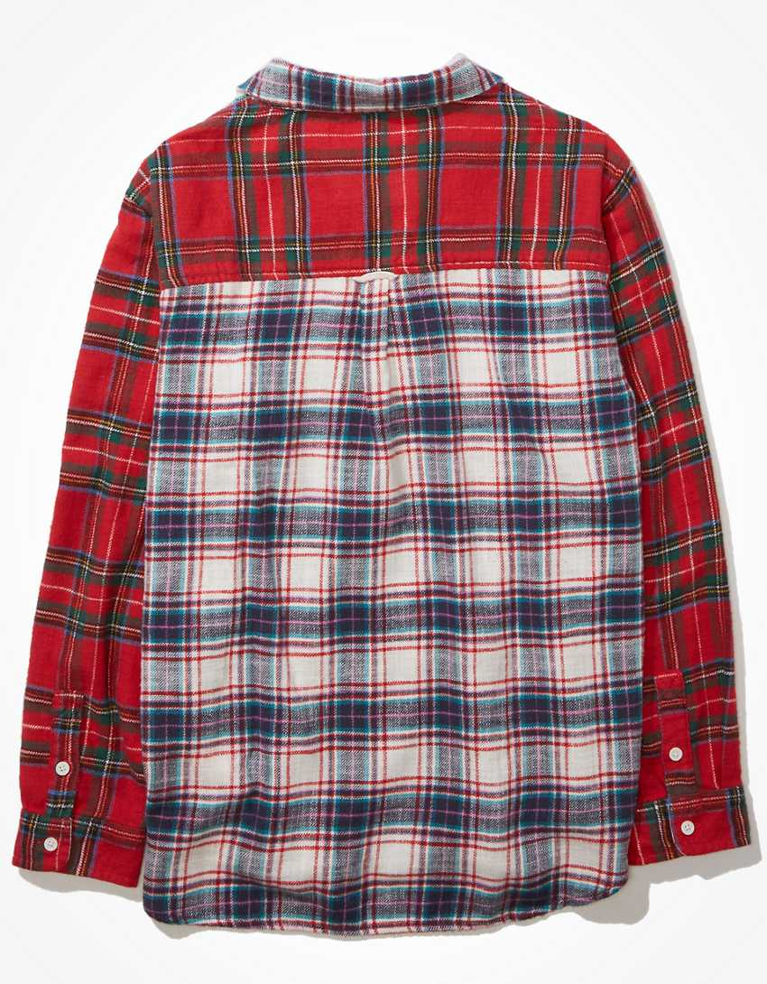 AE Oversized Plaid Button-Up Shirt