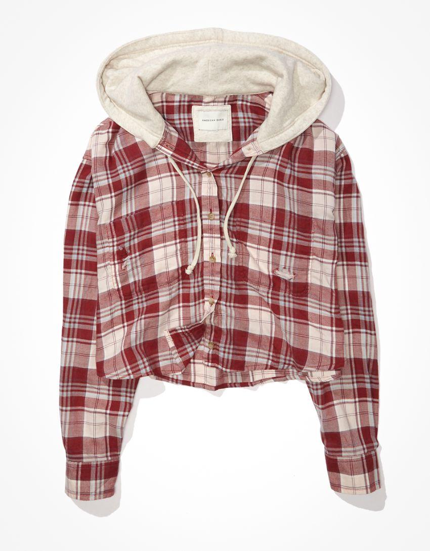 AE Plaid Hooded Cropped Flannel Shirt