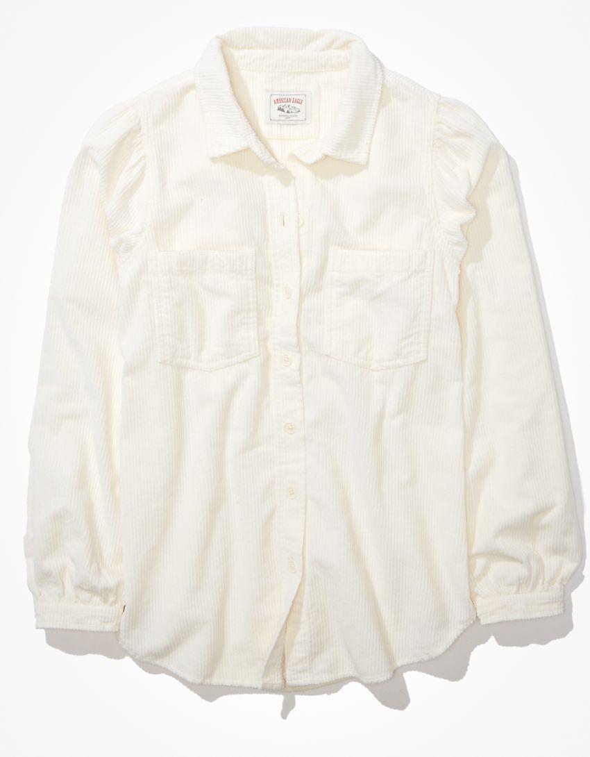 AE Oversized Corduroy Puff-Sleeve Shirt