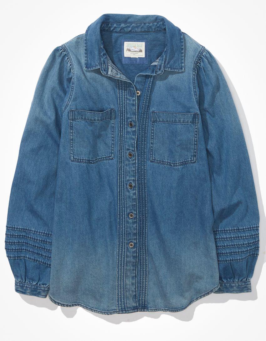 AE Oversized Denim Puff-Sleeve Shirt