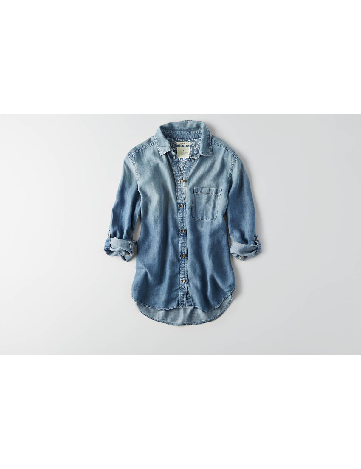 Display product reviews for AEO Boyfriend Denim Tencel Shirt