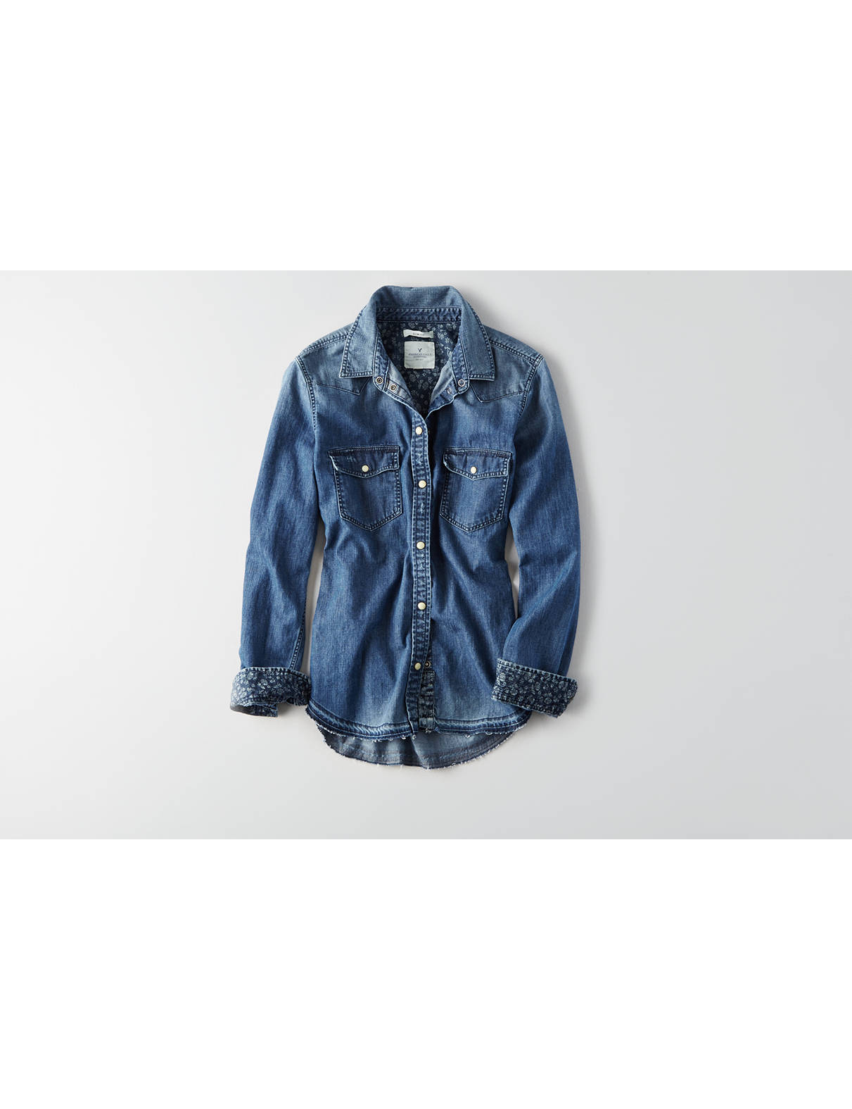 Display product reviews for AEO Slim Denim Shirt