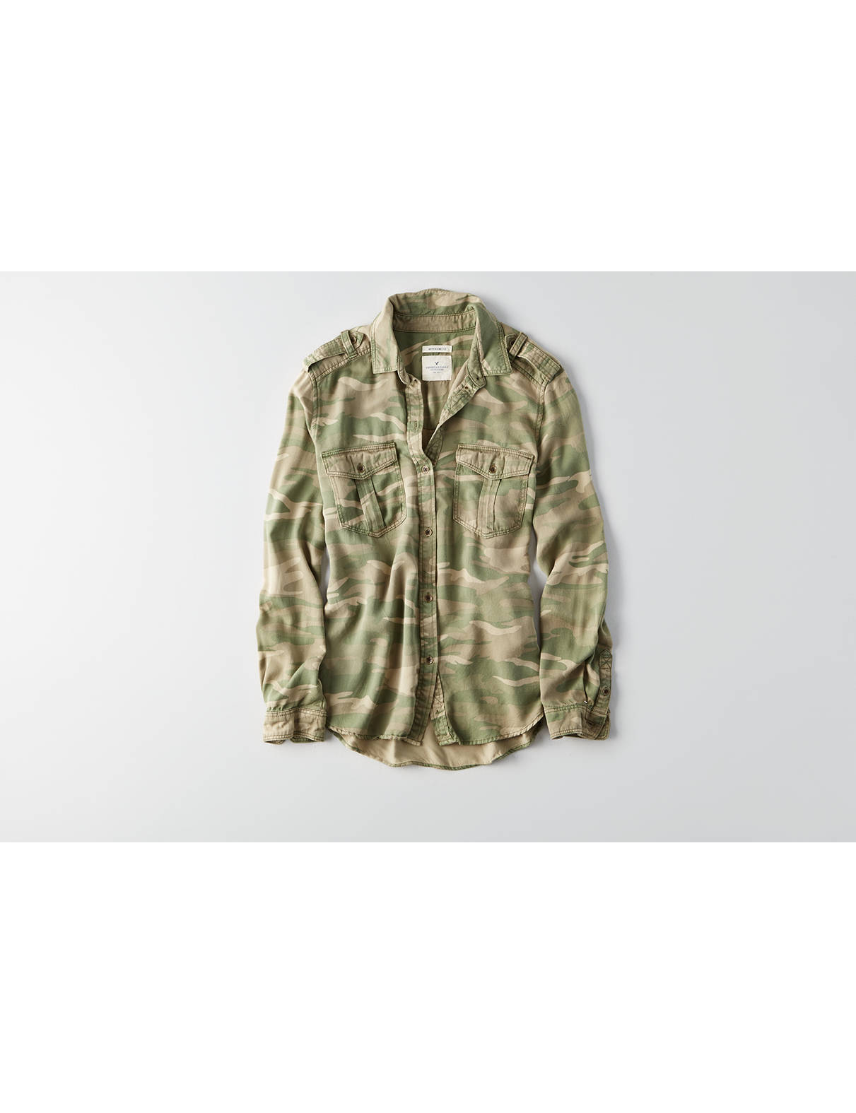 Display product reviews for AEO Stay Lovely Camouflage Jacket