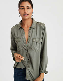 Ae Military Button Up Shirt by American Eagle Outfitters