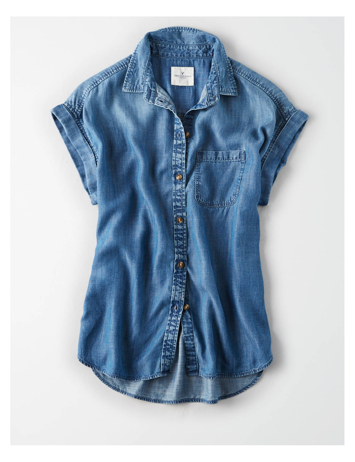 Display product reviews for AE Solid Short Sleeve Button Down Shirt