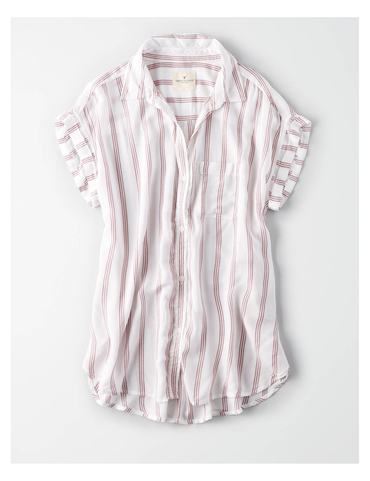 Display product reviews for AE Striped Short Sleeve Button Down Shirt