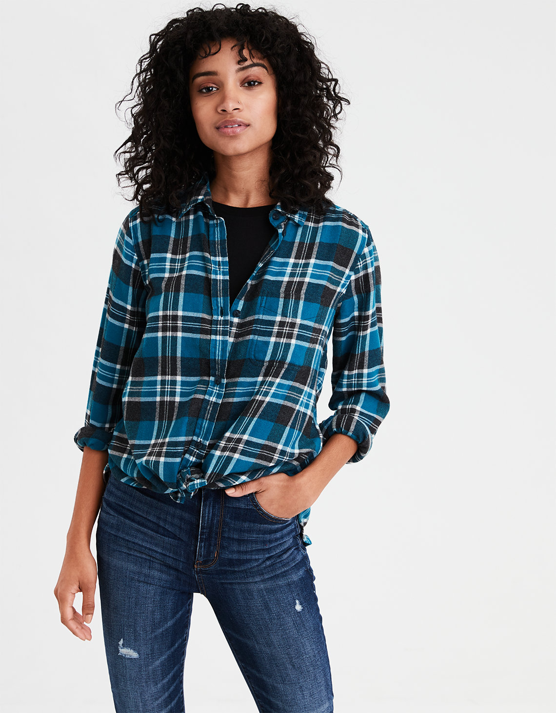 ba1d3b7a52 AE Ahhmazingly Soft Plaid Boyfriend Shirt. Placeholder image. Product Image