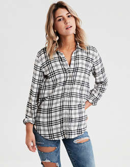 AE Ahhmazingly Soft Plaid Boyfriend Button-Down