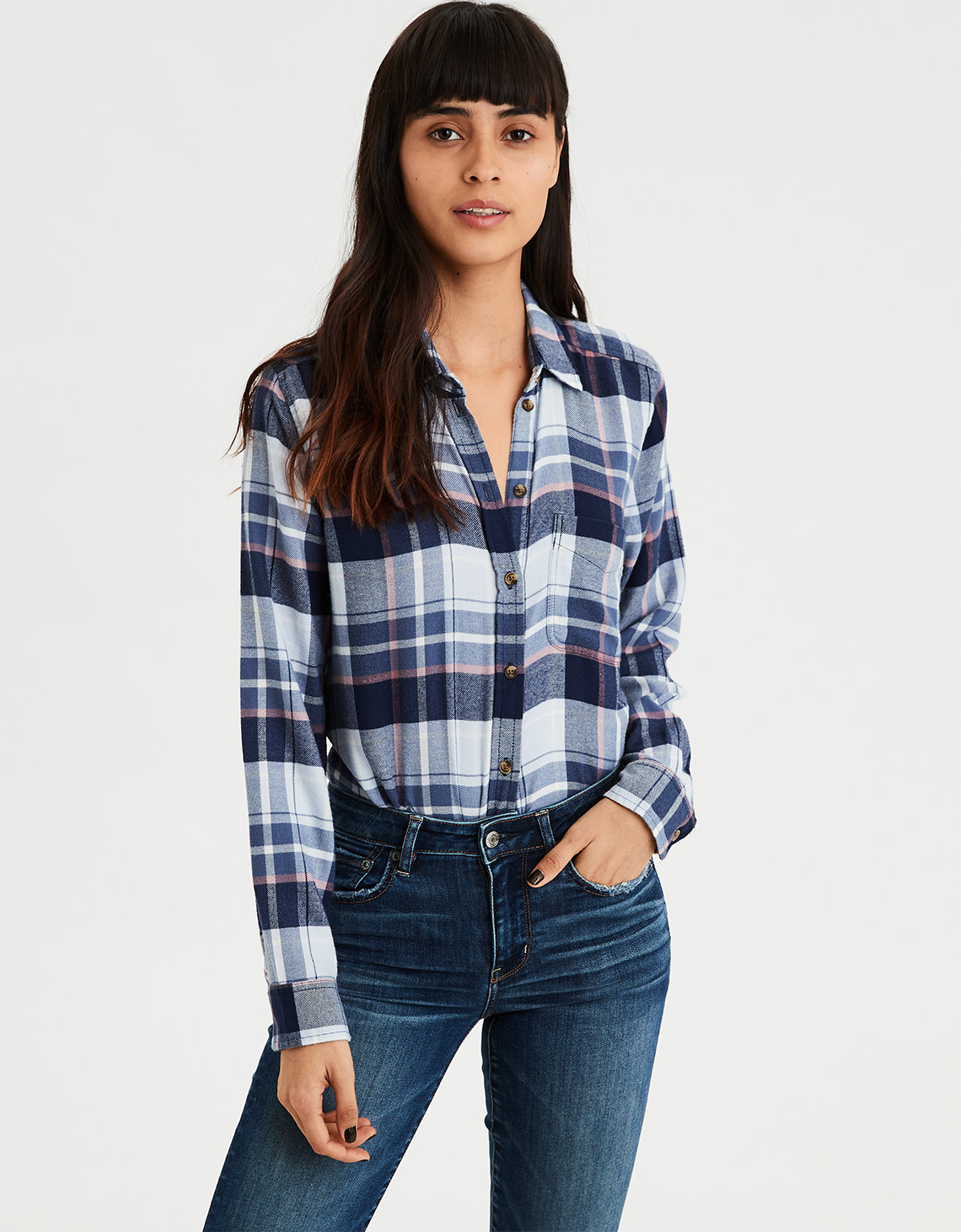 76710c0f6c AE Ahhmazingly Soft Plaid Boyfriend Button-Down. Placeholder image. Product  Image