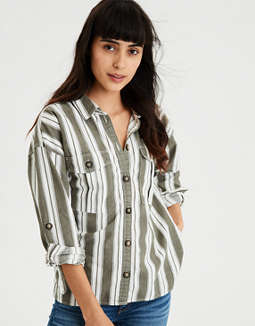 AE Long Sleeve Stripe Button Down Top