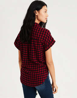 Ae Ahhmazingly Soft Plaid Top by American Eagle Outfitters
