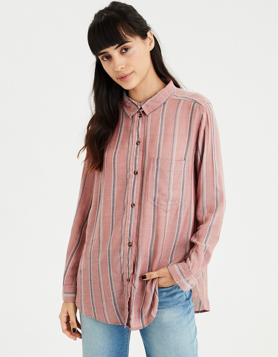 e3b412971b8 AE Striped Tie Front Top