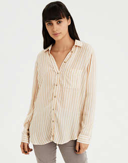 AE Boyfriend Stripe Button-Down
